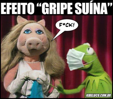 Muppets Pig e Caco namoram segundo as normas de prevenção da gripe suína