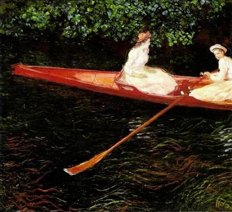 Canoa sobre o ept, Monet. Cena do músico no lago sobre o chello parece remeter a esse quadro que está no MASP