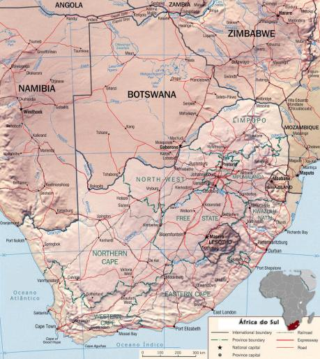 mapa- africa do sul (South Africa map)